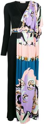 Emilio Pucci contrast colour-block maxi dress