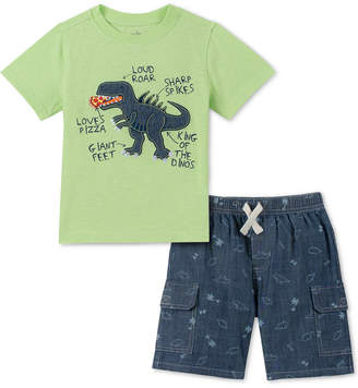 6a8eac65c1f8 Kids Headquarters Little Boys 2-Pc. Dinosaur Applique T-Shirt   Printed  Chambray