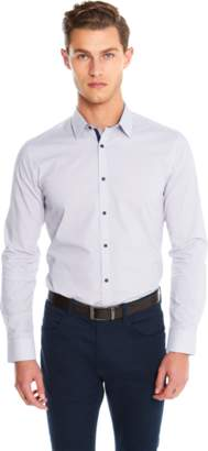 yd. WHITE/BURGUNDY APSLEY SLIM FIT SHIRT