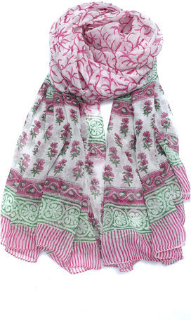 Mila Trends Block Print Scarf Pink Green I