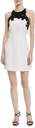 Halston Colorblock Mini Dress w/ Embroidered Top