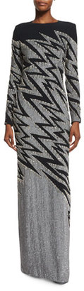 Jenny Packham Zigzag-Beaded Long-Sleeve Gown, Black/Silver $6,365 thestylecure.com