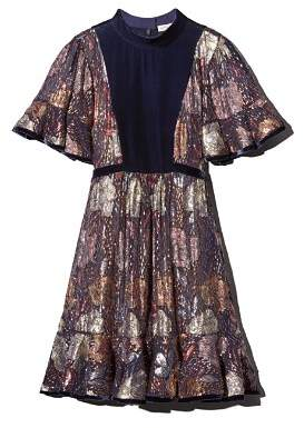 Rebecca Taylor Velvet-Trimmed Metallic Floral Dress
