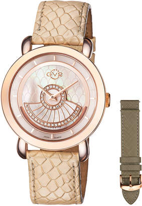 BEIGE Gv2 40mm Catania Diamond Leather Watch,
