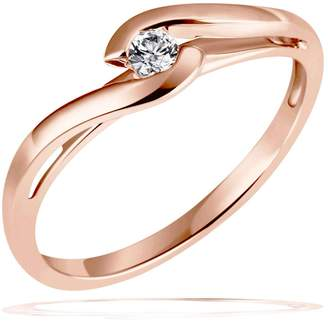 Goldmaid Women's Ring Solitaire - Wedding Ring Red Gold with one Diamond 14ct