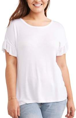 No Comment Women's Plus Size Off Ruffle Sleeve Tee