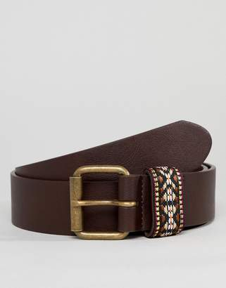 Asos Design DESIGN festival faux leather wide belt in brown with aztec embroidered keeper