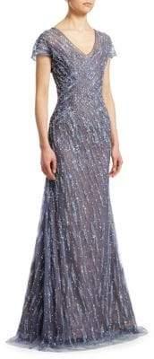 Rene Ruiz Embellished Cap-Sleeve Gown