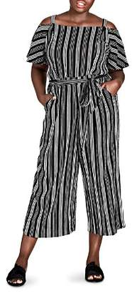 City Chic Plus Striped Cold-Shoulder Jumpsuit