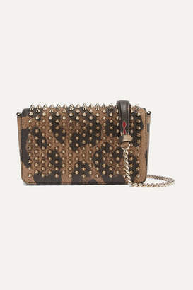 Christian Louboutin Zoompouch Spiked Leopard-print Leather Shoulder Bag - Brown