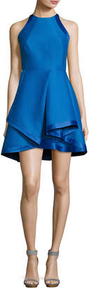 Halston Sleeveless High-Neck Structured Cocktail Dress, Cobalt