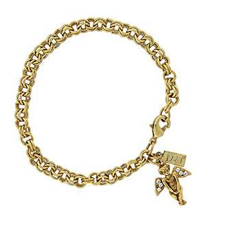 "Symbols of Faith ""Inspirations"" 14k Gold-Dipped Crystal Angel Chain Link Charm Bracelet"