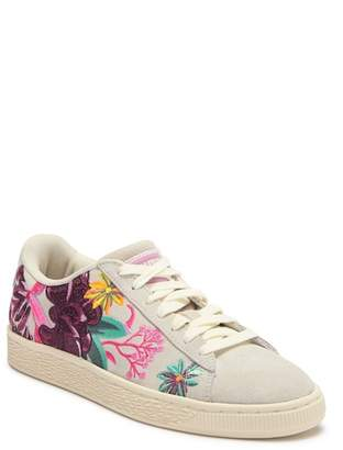 Puma Suede Hyper Embroidered Floral Sneaker
