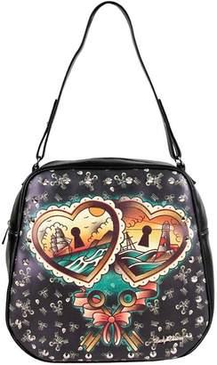 Lucky Brand LUCKY 13 Heart Locks Rockabilly Metal Studded Womens Handbag Purse NEW