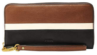 Fossil Large Emma RFID Zip-Around Leather Clutch