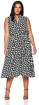 Anne Klein Women's Plus Size Drawstring Midi Dress