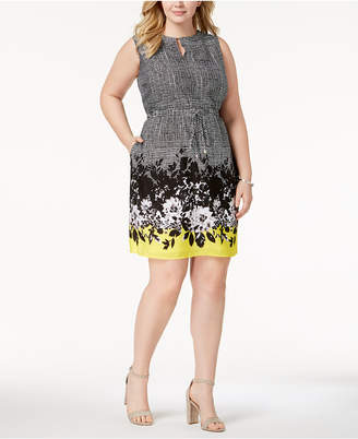 Ellen Tracy Plus Size Printed Drawstring Dress
