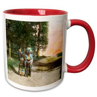 3dRose Vintage Native American Man and Wife Magic Lantern Hand Colored - Two Tone Red Mug, 11-ounce