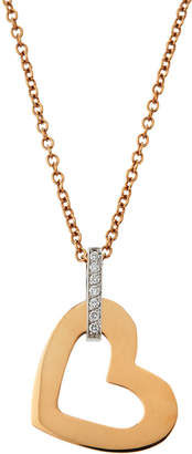 Roberto Coin 18k Rose/White Gold Chic N' Shine Heart Necklace