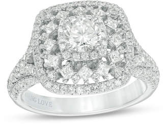 Zales Vera Wang Love Collection 1-1/2 CT. T.W. Diamond Double Cushion Frame Engagement Ring in 14K White Gold