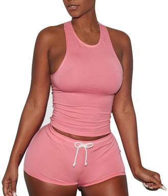 Soficy Women Playsuits 2 Piece Set Tank Top + Short Pants Sleeveless Split Casual Outfit Sportswears(,S)