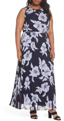 Eliza J Floral Belted Pleated Maxi Dress