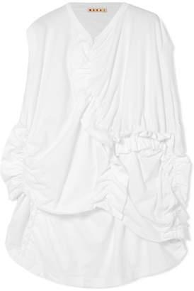 Marni Ruched Cotton-jersey T-shirt - White