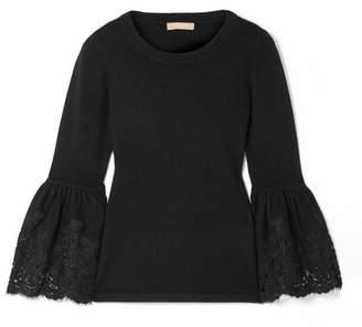 Michael Kors Lace-trimmed Cashmere-blend Sweater - Black