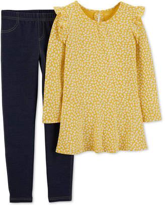 Carter's Little & Big Girls 2-Pc. Floral-Print Tunic & Denim Leggings Set