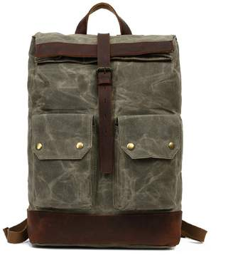 EAZO - Folded Top Waxed Canvas Backpack With Front Pockets In Green