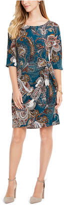 Robbie Bee Petite Printed Side-Tie Sarong Dress