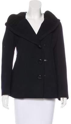 Prada Knit-Trimmed Wool Jacket