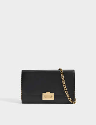 Victoria Beckham Wallet on Chain in Black Calf Leather