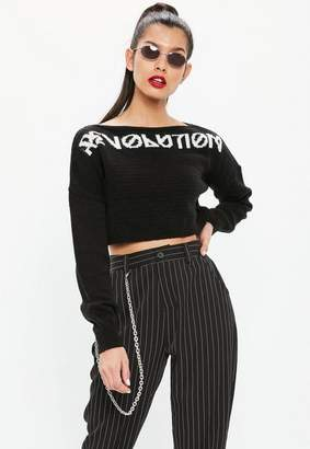 Missguided Black Revolution Cropped Sweater