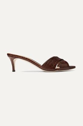 Giuseppe Zanotti Felicia Croc-effect Leather Mules - Brown
