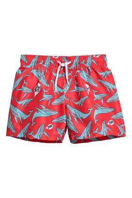H&M Patterned Swim Shorts - Bright red/whales - Kids