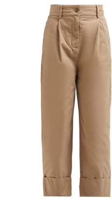 Acne Studios Phaedra Cuffed Cotton Chino Trousers - Womens - Beige