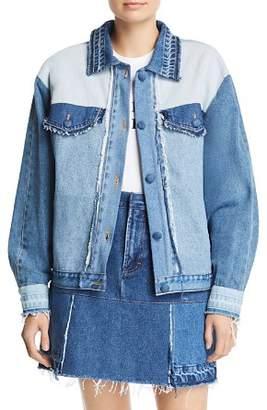Ksenia Schnaider Reworked Denim Jacket in Mixed Blue
