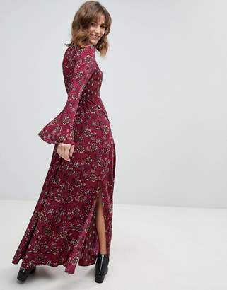 Band of Gypsies Retro Bell Sleeve Maxi Dress