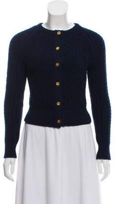 Black Fleece Cable Knit Wool Cardigan