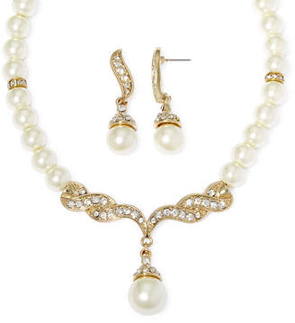 MONET JEWELRY Monet Simulated Pearl and Crystal Gold-Tone Drop Earring and Necklace Set