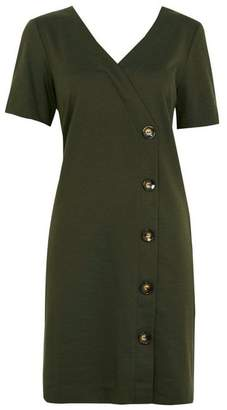 Wallis Olive V-Neck Button Shift Dress