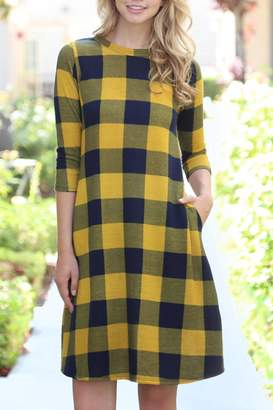 Riah Fashion Plaid/hacci Pocket Dress