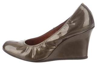 Lanvin Patent Leather Round-Toe Wedges