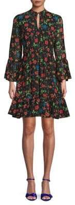 Calvin Klein Floral Bell-Sleeve Flare Dress