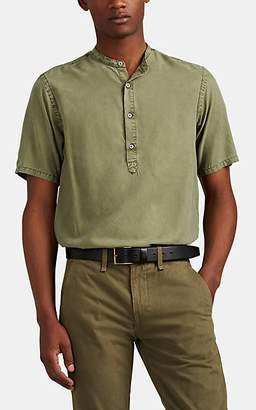 Officine Generale Men's Plain-Weave Short-Sleeve Henley - Olive