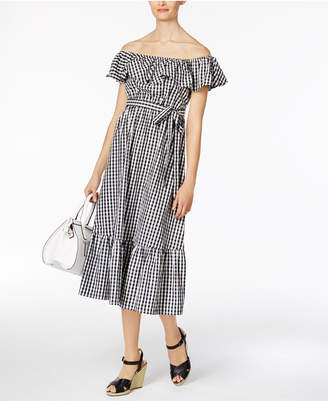 Olivia & Grace Cotton Off-The-Shoulder Midi Dress $90 thestylecure.com