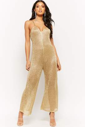 Forever 21 Sheer Metallic Wide-Leg Jumpsuit