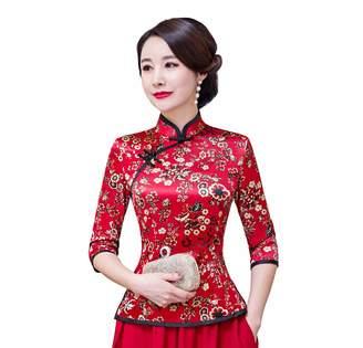 story. Shanghai Cheongsam Shirt 3/4 Sleeve Chinese Top Faux Silk Blouse 3XL Red