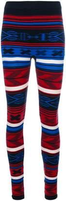 Laneus striped knitted leggings